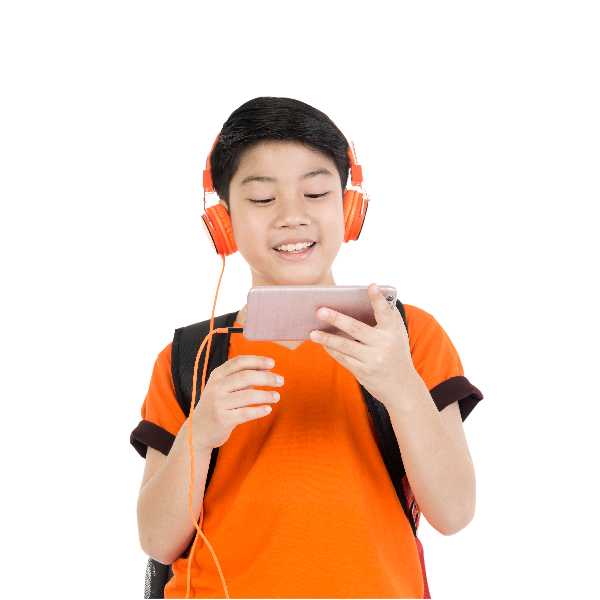 the boy listening to music